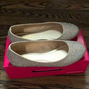 Gold and silver sparkle flats